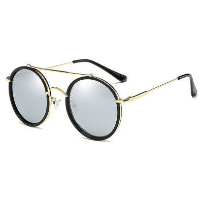 Buy REFLECTIVE WHITE COLOR Fashion Round Rims Unisex Sunglasses for $7.65 in GearBest store