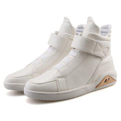 Male Casual Solid Color High Top Leather Shoes