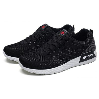Buy BLACK Male Knitted Lace Up Light Sports Running Sneakers for $26.96 in GearBest store