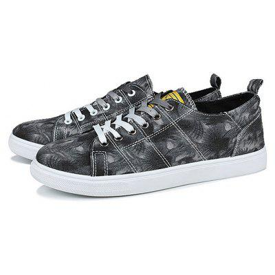 Buy BLACK Male Lace Up Pattern Outdoor Walking Athletic Shoes for $24.99 in GearBest store
