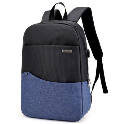 Buy BLUE Chic Splicing Backpack with USB Port for $26.35 in GearBest store