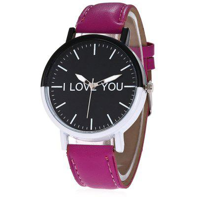 Mulheres Candy Color PU Band Quartz Watch