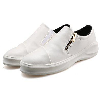 Male Casual Slip On Solid Color PU Leather Shoes