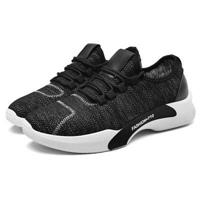 Male Knitted Lace Up Light Running Sneakers
