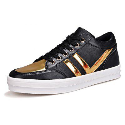 Men Split Joint Ankle Top Leather Casual Skateboarding Shoes