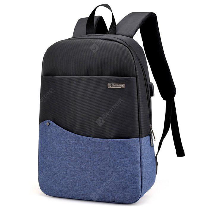 BLUE Chic Splicing Backpack with USB Port