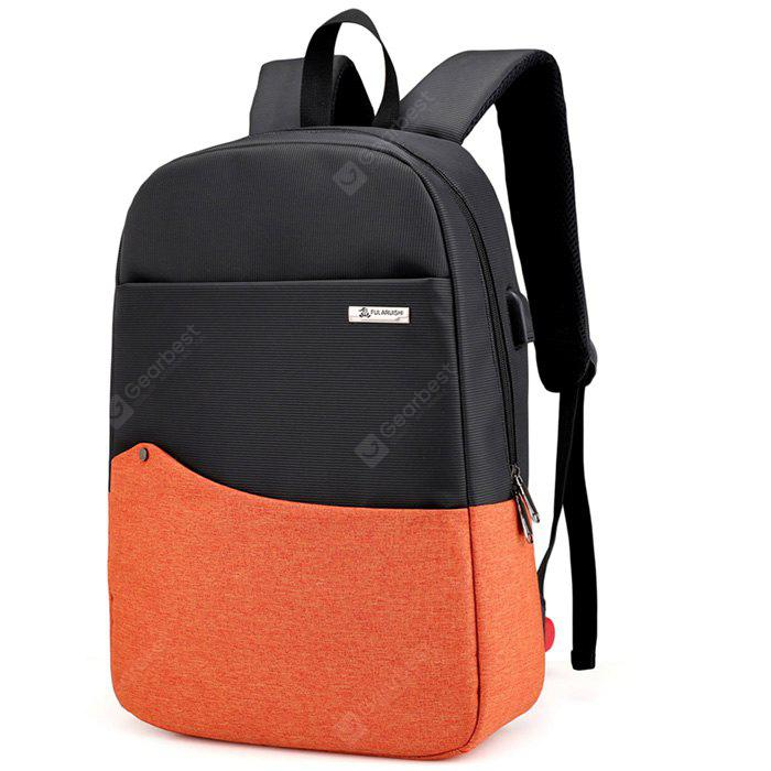 BRIGHT ORANGE Chic Splicing Backpack with USB Port