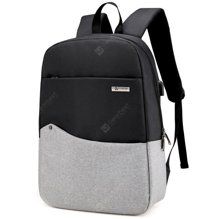 LIGHT GRAY Chic Splicing Backpack with USB Port