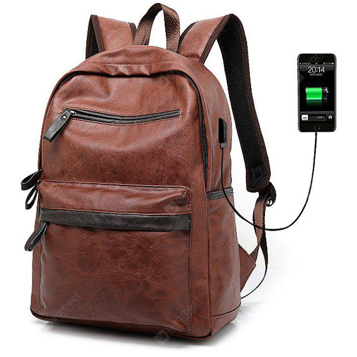 BROWN Fashion PU Backpack with USB Port