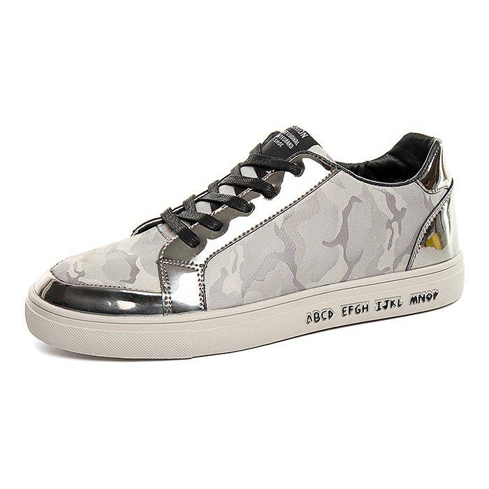 Male Stitching Lace Up Patent Leather Casual Shoes