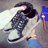 Male Stitching Lace Up Patent Leather Casual Shoes - SILVER