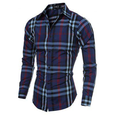 Male Classic Standard Fit Long Sleeve Checked Shirt
