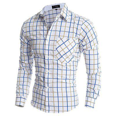 Male Business Classic Long Sleeve Checked Shirt
