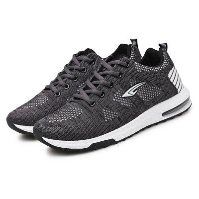 Male Breathable Knitted Lace Up Athletic Shoes