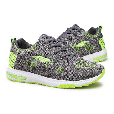 Male Breathable Knitted Lace Up Athletic Running Shoes