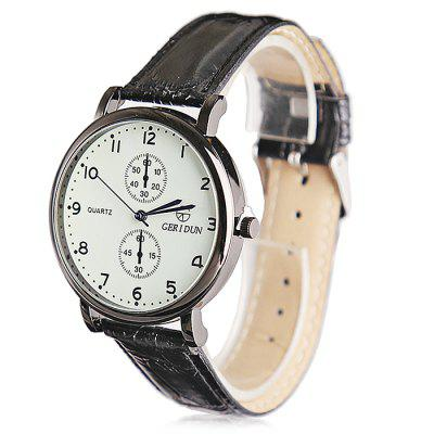GERIDUN Men Waterproof PU Band Wrist WatchMens Watches<br>GERIDUN Men Waterproof PU Band Wrist Watch<br><br>Band material: PU<br>Band size: 24.5 x 2cm<br>Brand: GERIDUN<br>Case material: Steel<br>Clasp type: Pin buckle<br>Dial size: 3 x 3 x 0.7cm<br>Display type: Analog<br>Movement type: Quartz watch<br>Package Contents: 1 x Watch, 1 x Box<br>Package size (L x W x H): 8.00 x 7.50 x 5.50 cm / 3.15 x 2.95 x 2.17 inches<br>Package weight: 0.0900 kg<br>Product size (L x W x H): 24.50 x 3.00 x 0.70 cm / 9.65 x 1.18 x 0.28 inches<br>Product weight: 0.0400 kg<br>Shape of the dial: Round<br>Watch mirror: Acrylic<br>Watch style: Fashion<br>Watches categories: Men