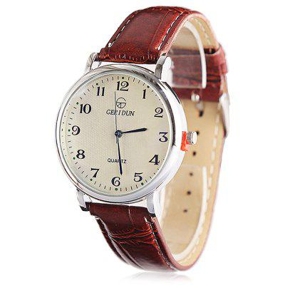 GERIDUN Men Casual Round Dial PU Band Quartz WatchMens Watches<br>GERIDUN Men Casual Round Dial PU Band Quartz Watch<br><br>Band material: PU<br>Band size: 24.5 x 2cm<br>Brand: GERIDUN<br>Case material: Steel<br>Clasp type: Pin buckle<br>Dial size: 3 x 3 x 0.7cm<br>Display type: Analog<br>Movement type: Quartz watch<br>Package Contents: 1 x Watch, 1 x Box<br>Package size (L x W x H): 8.00 x 7.50 x 5.50 cm / 3.15 x 2.95 x 2.17 inches<br>Package weight: 0.0900 kg<br>Product size (L x W x H): 24.50 x 3.00 x 0.70 cm / 9.65 x 1.18 x 0.28 inches<br>Product weight: 0.0400 kg<br>Shape of the dial: Round<br>Watch mirror: Acrylic<br>Watch style: Casual<br>Watches categories: Men