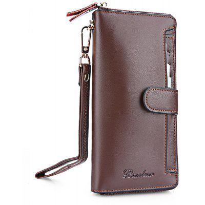 Buy COFFEE Banlear Fashion Solid Color Men Clutch Wallet for $26.53 in GearBest store