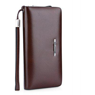 Buy DARK AUBURN Banlear Smooth Leather Clutch Men Wallet for $25.82 in GearBest store