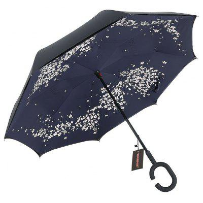 Cherry Blossom Print Windproof Inverted Double-layer Umbrella