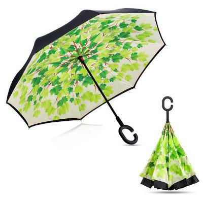 Buy GREEN Cherry Blossom Print Windproof Inverted Double-layer Umbrella for $15.98 in GearBest store