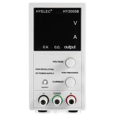 HYELEC HY3005B Adjustable 30V/5A DC Power SupplyMultimeters &amp; Fitting<br>HYELEC HY3005B Adjustable 30V/5A DC Power Supply<br><br>Brand: HYELEC<br>Color: Gray<br>Contents: 1 x HY3005B DC Power Supply, 1 x UK Plug Power Cord ( 140cm ), 1 x English Manual<br>Input Voltage: 140 - 127V AC ( 60Hz ) or 207 - 253V AC ( 50Hz ) selected<br>Load Regulation: CV ? 0.01% + 5mV, CC?0.2% + 5mA / CV ? 0.1% + 3mV ( l &gt; 3A ), CC ? 0.2% + 5mA ( l &gt; 3A )<br>Output Current: 0 - 5A<br>Output Voltage: 0 - 30V<br>Package Size ( L x W x H ): 28.00 x 14.00 x 19.00 cm / 11.02 x 5.51 x 7.48 inches<br>Package Weights: 1.67kg<br>Product Size(L x W x H): 25.70 x 7.80 x 14.60 cm / 10.12 x 3.07 x 5.75 inches<br>Product Weights: 1kg