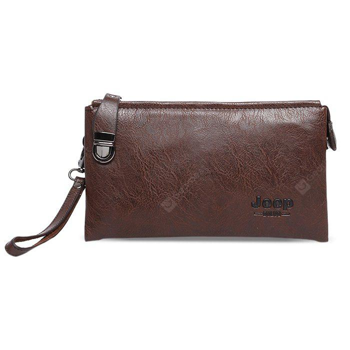 BROWN Men Leisure PU Wallet with Zipper