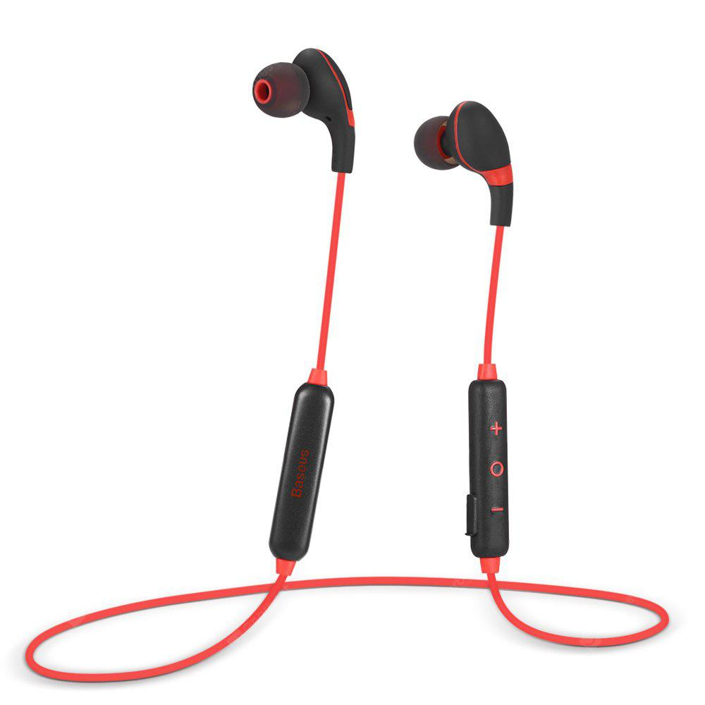 RED WITH BLACK Baseus S04 Magnetic Bluetooth Sports Earbuds with Mic