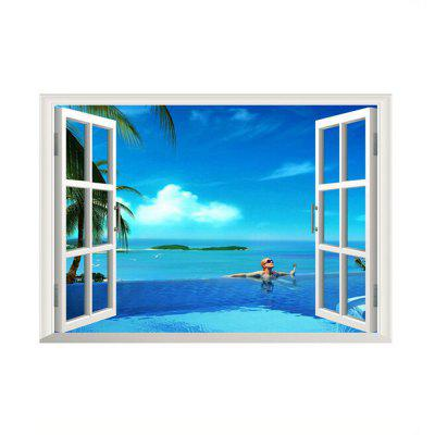3D Window Sea View Wall Sticker