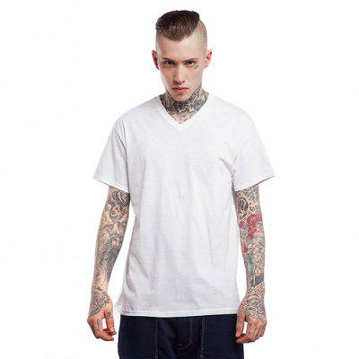 Seamless 100 Cotton Men T-shirt with V-neck