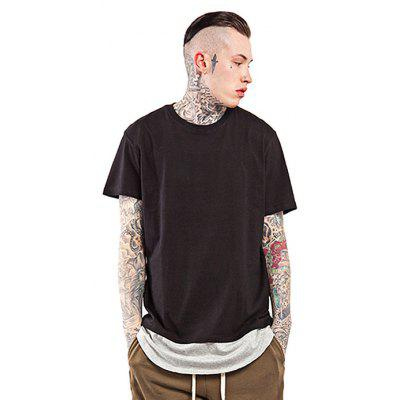 Arc Spliced Bottom Round Neck 100 Cotton T-shirt for Men