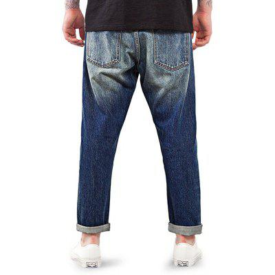 Male Fashionable Red Line Handmade Washed Denim Ninth Pants