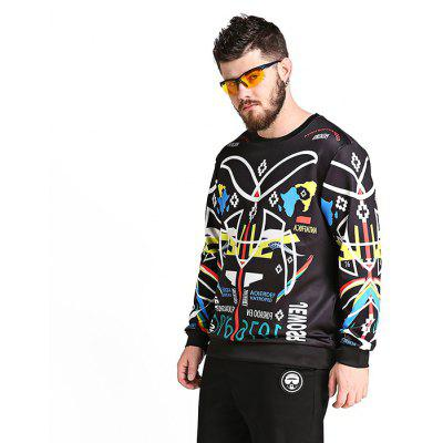 Male Fashionable Casual Digital Printing Large-size Round Neck Jumper