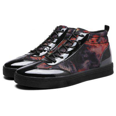 Male Casual Lace Up Leather Fabric High Top Shoes