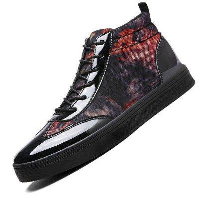 Male Casual Lace Up Leather Fabric High Top ShoesCasual Shoes<br>Male Casual Lace Up Leather Fabric High Top Shoes<br><br>Closure Type: Lace-Up<br>Contents: 1 x Pair of Shoes<br>Decoration: Split Joint<br>Function: Slip Resistant<br>Materials: Fabric, Patent Leather, Rubber<br>Occasion: Shopping, Holiday, Daily, Casual<br>Outsole Material: Rubber<br>Package Size ( L x W x H ): 33.00 x 22.00 x 11.00 cm / 12.99 x 8.66 x 4.33 inches<br>Package Weights: 0.87kg<br>Pattern Type: Floral<br>Seasons: Autumn,Spring<br>Style: Modern, Leisure, Fashion, Casual<br>Toe Shape: Round Toe<br>Type: Casual Shoes<br>Upper Material: Cotton Fabric,Patent Leather