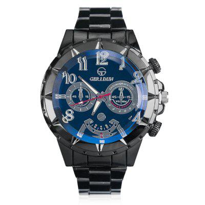 GERIDUN Men Fashionable Outdoor Sports Quartz WatchMens Watches<br>GERIDUN Men Fashionable Outdoor Sports Quartz Watch<br><br>Band material: Steel<br>Band size: 21.5 x 2cm<br>Brand: GERIDUN<br>Case material: Steel<br>Clasp type: Butterfly clasp<br>Dial size: 5 x 5 x 1.3cm<br>Display type: Analog<br>Movement type: Quartz watch<br>Package Contents: 1 x Watch, 1 x Box<br>Package size (L x W x H): 8.00 x 7.50 x 5.50 cm / 3.15 x 2.95 x 2.17 inches<br>Package weight: 0.1100 kg<br>Product size (L x W x H): 21.50 x 5.00 x 1.30 cm / 8.46 x 1.97 x 0.51 inches<br>Product weight: 0.0600 kg<br>Shape of the dial: Round<br>Watch mirror: Acrylic<br>Watch style: Fashion<br>Watches categories: Men