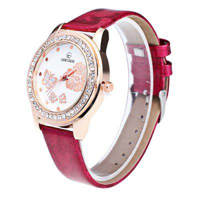 GERIDUN Women Sweet Quartz WatchWomens Watches<br>GERIDUN Women Sweet Quartz Watch<br><br>Band material: PU<br>Band size: 24.5 x 2cm<br>Brand: GERIDUN<br>Case material: Steel<br>Clasp type: Pin buckle<br>Dial size: 3 x 3 x 0.7cm<br>Display type: Analog<br>Movement type: Quartz watch<br>Package Contents: 1 x Watch, 1 x Box<br>Package size (L x W x H): 8.00 x 7.50 x 5.50 cm / 3.15 x 2.95 x 2.17 inches<br>Package weight: 0.0900 kg<br>Product size (L x W x H): 24.50 x 3.00 x 0.70 cm / 9.65 x 1.18 x 0.28 inches<br>Product weight: 0.0400 kg<br>Shape of the dial: Round<br>Watch mirror: Acrylic<br>Watch style: Lovely, Fashion<br>Watches categories: Women<br>Water resistance : No