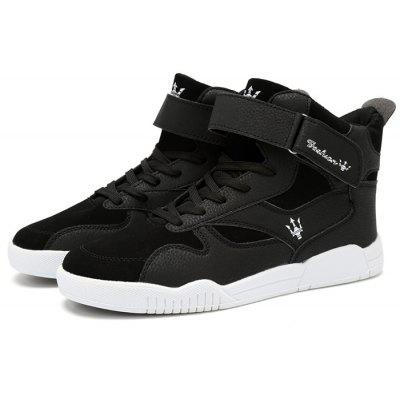 Male Stylish Slip Resistance Stitching High Top Casual Shoes