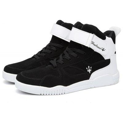 Buy Male Stylish Slip Resistance Stitching High Top Casual Shoes BLACK WHITE 42 for $20.28 in GearBest store