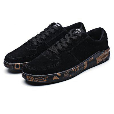Male Casual Anti Slip Pattern Lace Up Leather Shoes