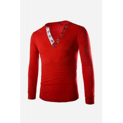 Male Slim Fit V-neck Long Sleeve T-shirt