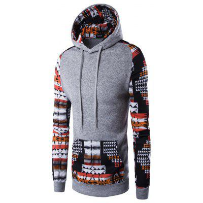 Ethnic Front Pocket Raglan Sleeve Hooded Sweatshirt