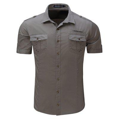 Simple Classic Military Style Short Sleeve Shirt