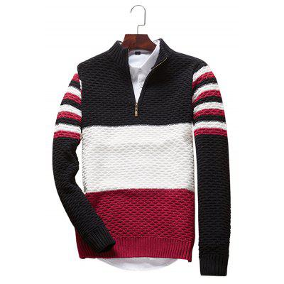 Simple Three-color Stitching Striped Long Sleeve Sweater