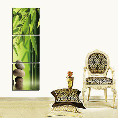 3PCS Vertical Bamboo Pebble Printed Canvas Wall Sticker