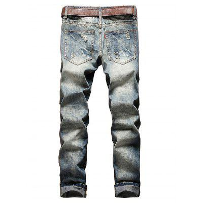 Fashionable Ripped Slim Straight Jeans