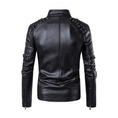 Braided Rope Stand Collar Motorcycle Leather CoatMens Jackets &amp; Coats<br>Braided Rope Stand Collar Motorcycle Leather Coat<br><br>Closure Type: Zipper<br>Clothes Type: Fur &amp; Faux Fur<br>Collar: Stand Collar<br>Colors: Black<br>Embellishment: Others<br>Materials: Polyester, PU<br>Package Content: 1 x Coat<br>Package Dimension: 39.00 x 29.00 x 3.50 cm / 15.35 x 11.42 x 1.38 inches<br>Package weight: 1.3300 kg<br>Pattern Type: Others<br>Product weight: 1.0000 kg<br>Seasons: Autumn<br>Shirt Length: Regular<br>Sleeve Length: Long Sleeves<br>Style: Fashion, Leather<br>Thickness: Medium thickness
