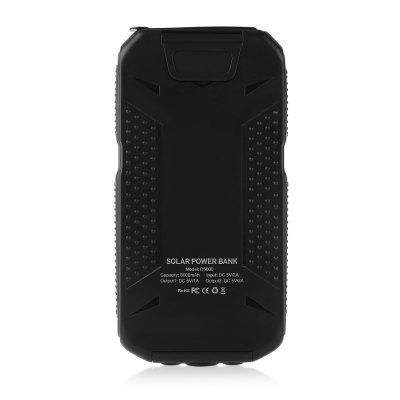 PANIZHE D5000 Power BankPower Banks<br>PANIZHE D5000 Power Bank<br><br>Battery Type: Li-Polymer Battery<br>Brand: PANIZHE<br>Capacity (mAh): 10000mAh<br>Capacity Range: 7500-10000mAh<br>Connection Type: Micro USB, Two USB Output Interface<br>Input: 5V 2A<br>Material: Silicon, ABS<br>Model: D5000<br>Output: 5V 1A, 5V 2A<br>Package Contents: 1 x Solar Power Bank, 1 x USB Cable, 1 x English Manual<br>Package size (L x W x H): 22.00 x 13.50 x 4.00 cm / 8.66 x 5.31 x 1.57 inches<br>Package weight: 0.3580 kg<br>Product size (L x W x H): 14.30 x 7.40 x 2.00 cm / 5.63 x 2.91 x 0.79 inches<br>Product weight: 0.2300 kg<br>Type: Solar Chargers