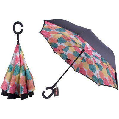Buy COLORMIX Colorful Maple Leaves Print Windproof Inverted Double-layer Umbrella for $15.98 in GearBest store