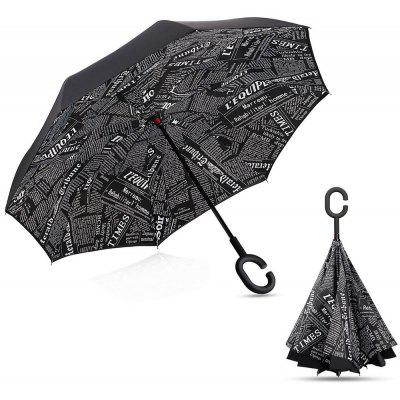 Black Newspaper Printed Inverted Double-layer Umbrella